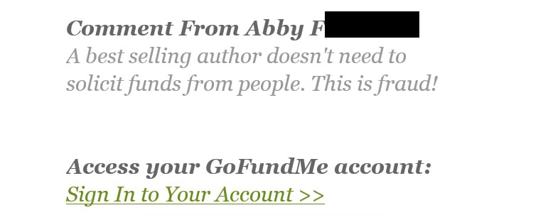 Abby negative comment on GoFund