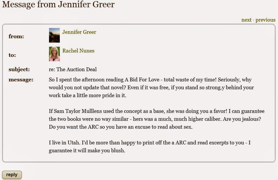 Jennifer Greer abusive blogger